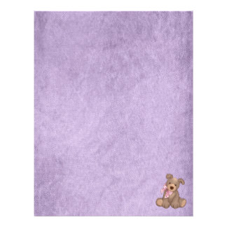 dril de algodón de la lila y peluche dulce membrete
