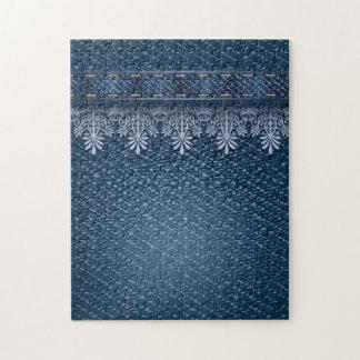 Dril de algodón floral retro de la flor rompecabezas con fotos