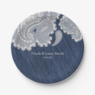 Dril de algodón Jean y boda nupcial elegante del Platos De Papel