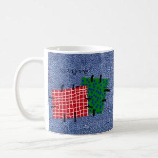 Dril de algodón remendado personalizado taza de café