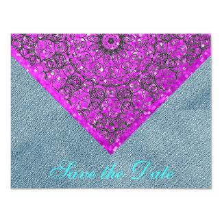 """Dril de algodón rosado del boda del país de la invitación 4.25"""" x 5.5"""""""