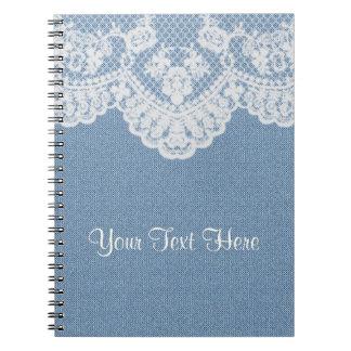 Dril de algodón y cordón azules libros de apuntes