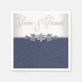 Dril de algodón y diamantes elegantes servilletas de papel