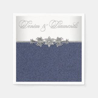 Dril de algodón y diamantes elegantes servilletas desechables