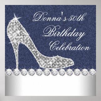 Dril de algodón y fiesta de cumpleaños de los diam posters