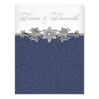Dril de algodón y fiesta de los diamantes invitación 10,8 x 13,9 cm