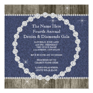 Dril de algodón y fiesta elegantes de los invitación 13,3 cm x 13,3cm