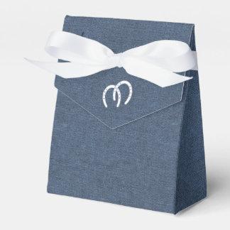 Dril de algodón y herraduras azules del país cajas para detalles de boda
