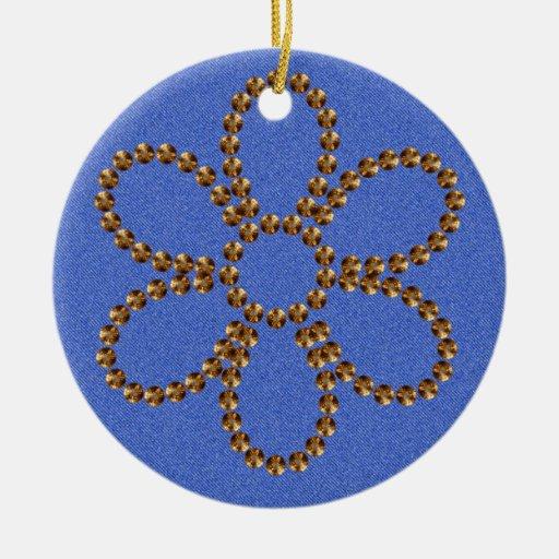 Dril de algodón y ornamento tachonado oro del navi adornos de navidad
