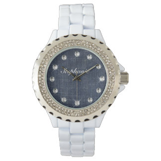 Dril de algodón y reloj personalizado diamantes