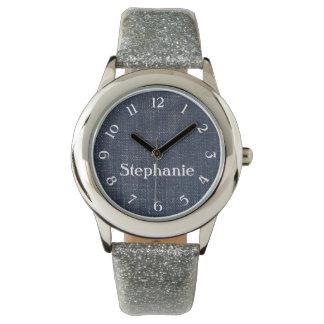 Dril de algodón y reloj personalizado plata