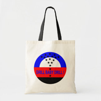 DRILL BABY DRILL  TOTE_ white Tote Bags