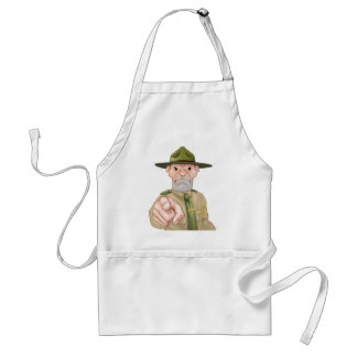 Drill Sergeant Pointing Adult Apron