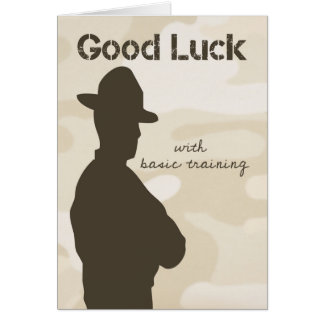 Drill Sergeant Silhouette w/ Camouflage Good Luck Greeting Card