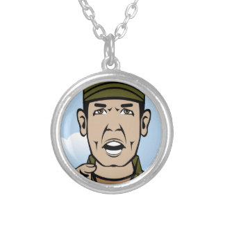 Drill Stg Duty vector Silver Plated Necklace