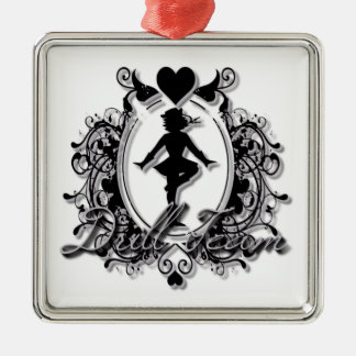 Drill Team Girl in a Heart Frame Metal Ornament