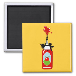 Drilling For Ketchup 2 Inch Square Magnet