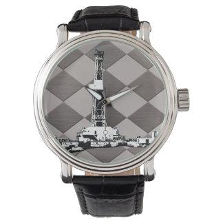 Drilling Rig Lite Espresso Brown Diamond Wristwatch