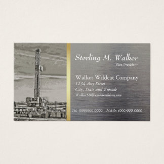 Drilling Rig on Metal Look Business Card
