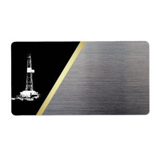 Drilling Rig Silhouette Black, Gold, and Silver Label