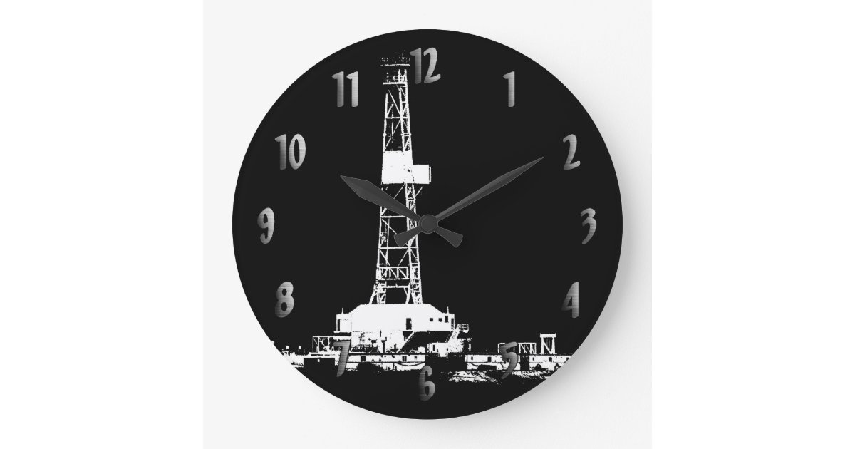 Drilling Rig Silhouette Clock With Numbers Zazzle Com