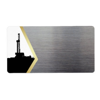 Drilling Rig Silhouette Gold, Silver Label