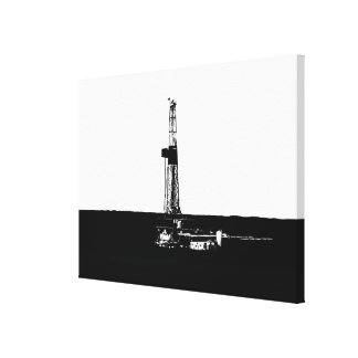 Drilling Rig Silhouette in Black on White Canvas Print