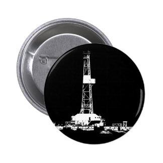 Drilling Rig Silhouette in the Bakken 2 Inch Round Button
