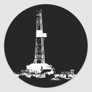 Drilling Rig Silhouette in the Bakken Classic Round Sticker
