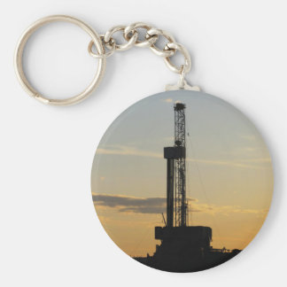 Drilling Rig Silhouette Keychain
