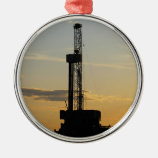 Drilling Rig Silhouette Metal Ornament