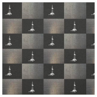 Drilling Rig Silhouette on Black Fabric