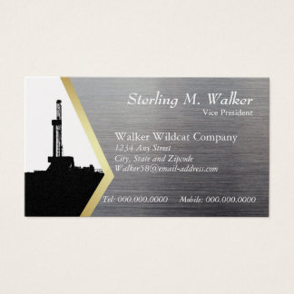 Drilling Rig Silhouette on Metal Look Business Card