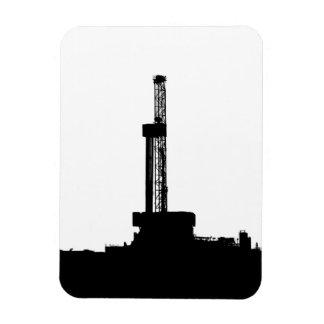 Drilling Rig Silhouette Rectangular Photo Magnet