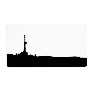 Drilling Rig Silhouette Shipping Lable Label