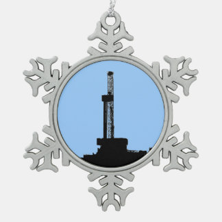 Drilling Rig Silhouette Snowflake Pewter Christmas Ornament