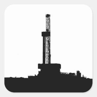 Drilling Rig Silhouette Square Sticker