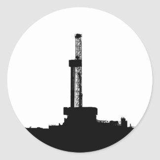 Drilling Rig Silhouette Round Stickers