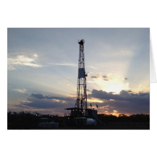 Drilling Rig Sunset Greeting Card