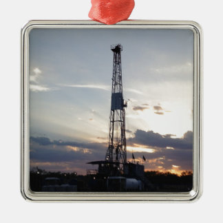 Drilling Rig Sunset Metal Ornament