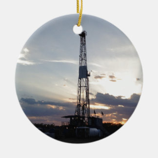 Drilling Rig Sunset Christmas Tree Ornaments