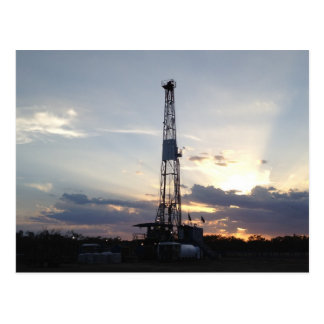 Drilling Rig Sunset Postcard