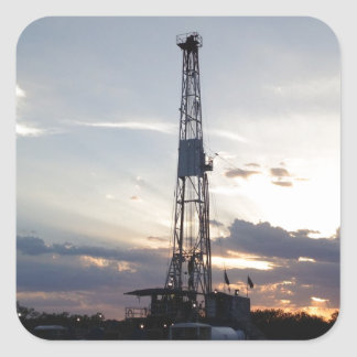 Drilling Rig Sunset Square Sticker
