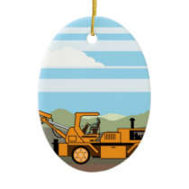 Drilling Rig Tractor Vehicle Machinery Ceramic Ornament