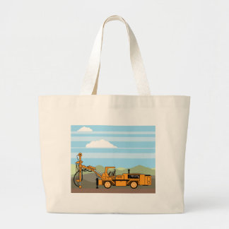 Drilling Rig Tractor Vehicle Machinery Large Tote Bag