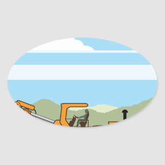 Drilling Rig Tractor Vehicle Machinery Oval Sticker