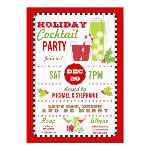 Drink & Be Merry Holiday Cocktail Party Invitation
