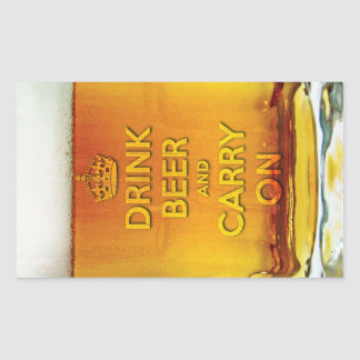 Drink beer and carry on rectangular sticker