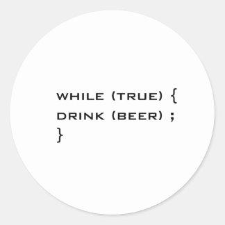 Drink beer classic round sticker