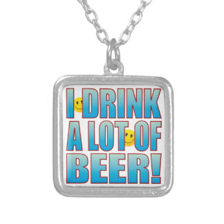 Drink Beer Life B Silver Plated Necklace